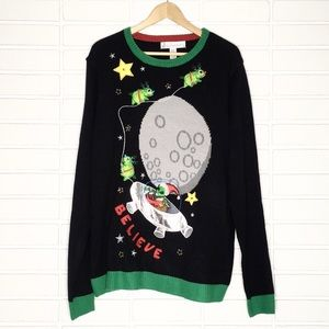 "LIGHT-UP ""Believe"" Alien Santa Holiday Sweater"